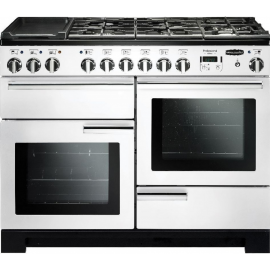 Rangemaster Professional Deluxe 110 Dual Fuel White And Chrome PDL110DFFWH/C