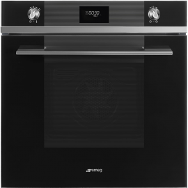 Smeg SFP6101TVN Linea Pyrolytic Multifunction Soft Close Single Oven Black Glass