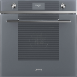 Smeg SFP6101TVS Linea Pyrolytic Multifunction Soft Close Single Oven Silver Glass