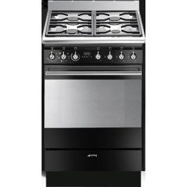 Smeg 60cm Concert Dual Fuel Cooker Black SUK61MBL8