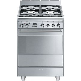 Smeg SUK61PX8 60cm Concert Cooker With Pyrolitic Oven Stainless Steel