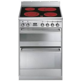 Smeg 60cm Concert Cooker With Double Oven And Ceramic Hob SUK62CMX8