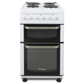 Montpellier TCE51W 50cm Electric Double Cavity Cooker With Solid Hotplate Hob - White