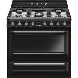 """SMEG TR90BL9 90cm """"Victoria"""" Traditional Dual fuel single cavity Cooker with Gas hob"""