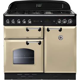Rangemaster Classic 100 Dual Fuel Range Cooker Cream And Chrome CLAS100DFFCR/C