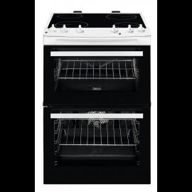 Zanussi ZCV66050WA Freestanding Electric Double Cooker, Black/White